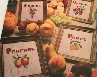 Homey Cross Stitch Cookin' Kitchen Graph Patterns DIY Book Vintage Craft Supply Fruit Country Home Shabby Homesteader