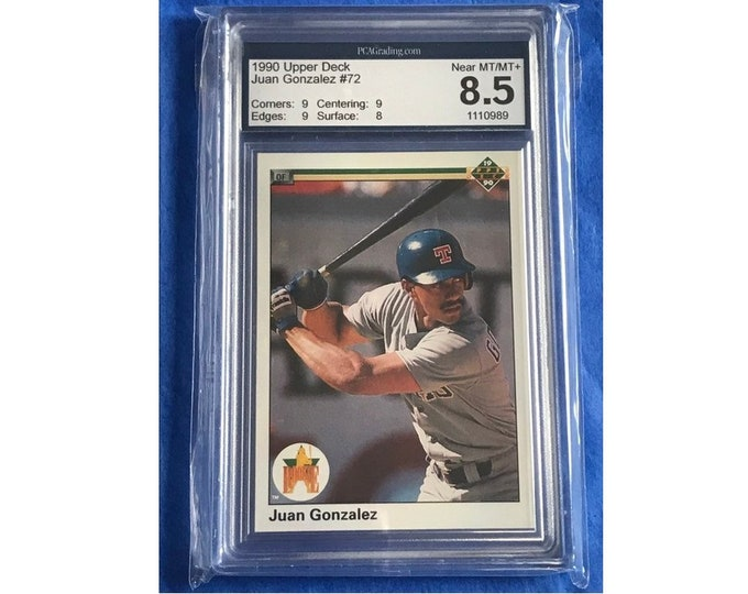 8.5 PCA 1990 Upper Deck #72 Juan Gonzalez Star RC HOF Vintage Baseball Card