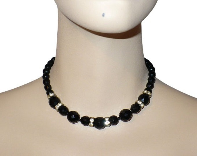 "1960's Vintage Black Faceted Czech Glass Bead Necklace with Rhinestone Accents 14-16"" Collar Choker Length"