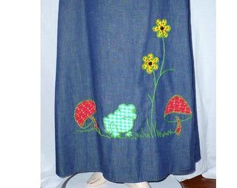 L Mushroom Maxi 1970's Vintage Wrap Skirt Large