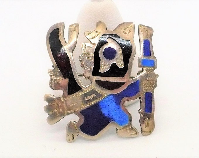 Vintage Ancient Peruvian Shaman Mid Century Pin Brooch Pendant