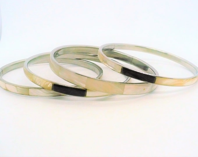 Four Mother of Pearl Abalone Silver Bangle Bracelets