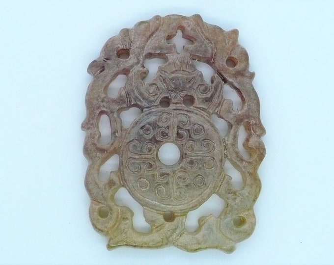 Shoushan Stone Carved Dragon Bi Disc Amulet Vintage Chinese Import