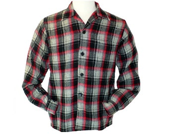 M/38 Vintage 1950's men's Loop Collar Wool Shadow Plaid Shirt Button Down Shirt Medium