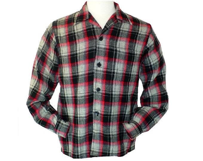 1950's Vintage Men's Shadow Plaid Button Down Loop Collar Shirt Medium 38