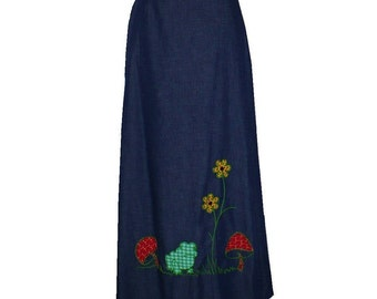Mushroom Maxi 1970's Vintage Wrap Skirt / Large / Get Lucky Vintage