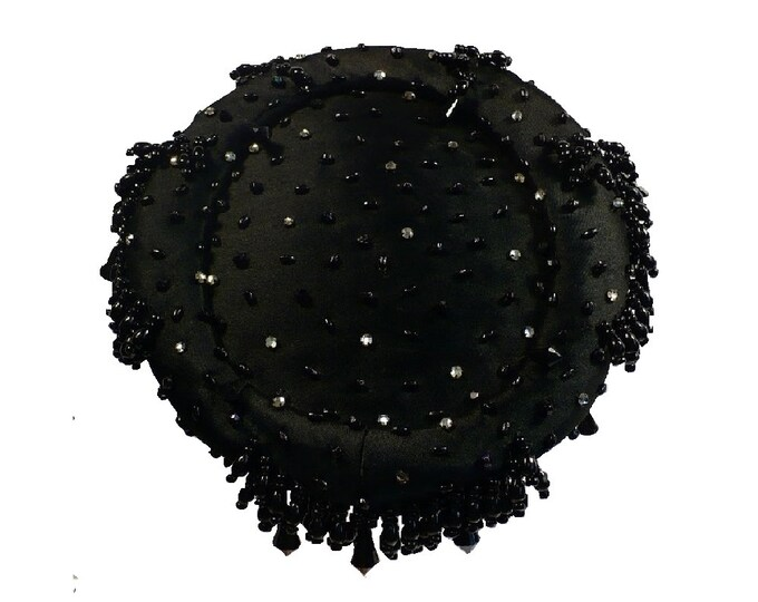 1960's Vintage Pillbox Hat Dripping with Beads and Rhinestones