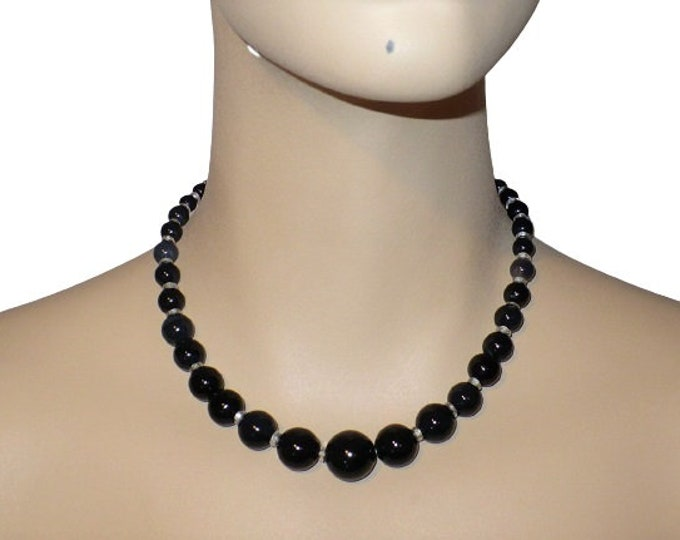 "1920's Vintage Arabic Onyx Beaded 16"" inch Choker Length Necklace"