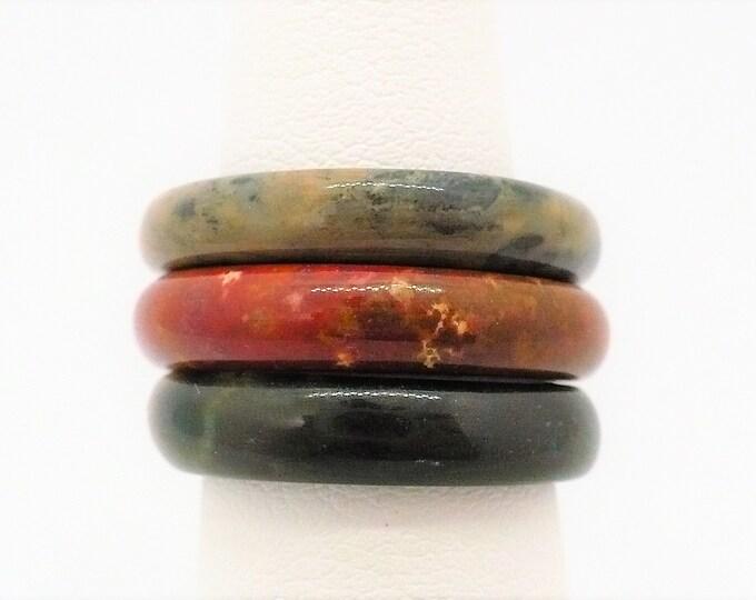 sz 6 Stacking Gemstone Band Ring Set of Three