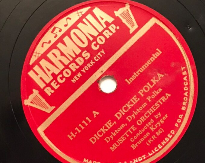 1940's Vintage 78 Record Sonia Polka; Dickie, Dickie Polka by Musette Orchestra Bohemian Folk Music H-1111