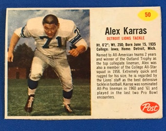 1962 Post Cereal #50 Alex Karras Football Card Trading Card Vintage Sports Memorabilia Collectibles