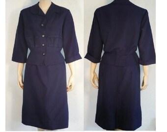 M Executive Sweet Skirt Suit Vintage 1950's Navy Blue Skirt Suit Medium