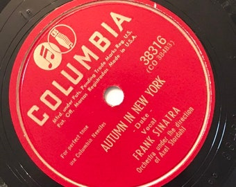 Autumn In New York; A Moonlight Night by Frank Sinatra 1940s Vintage Crooner Music 78 Columbia Record 10 inch Shellac Disc 38316