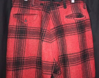 34/30 Manly Mackinaw Plaid Hunting Pants 1940's Vintage Men's Red Pants Outdoorsman