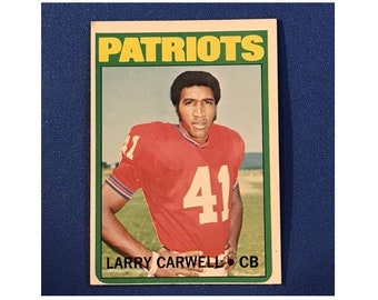 1972 Topps #299 Larry Carwell Patriots Football Card Trading Card Vintage Sports Memorabilia Collectibles