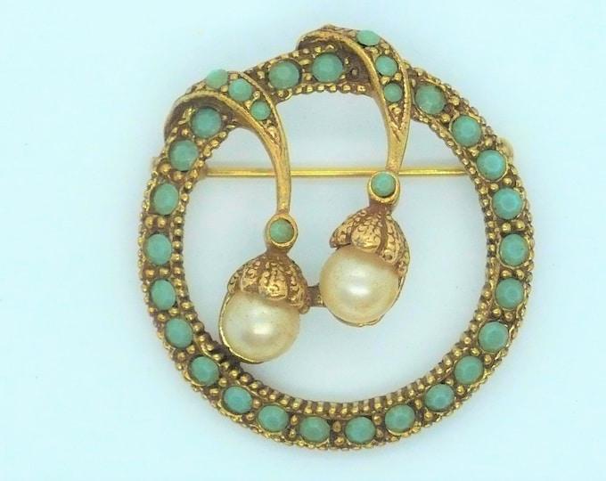 Vintage Pearl Glass Friendship Pin Brooch