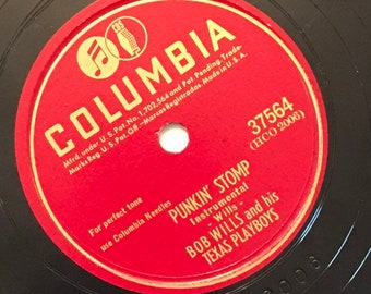 Punkin' Stomp; How Can it Be by Bob Willis and His Texas Playboys 1940s Vintage Country Music 78 Columbia Record 10 inch Shellac Disc 37564