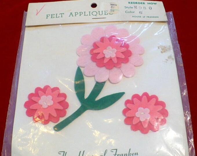 1970's Vintage Pink Felt Flowers Applique Set Sewing Supply