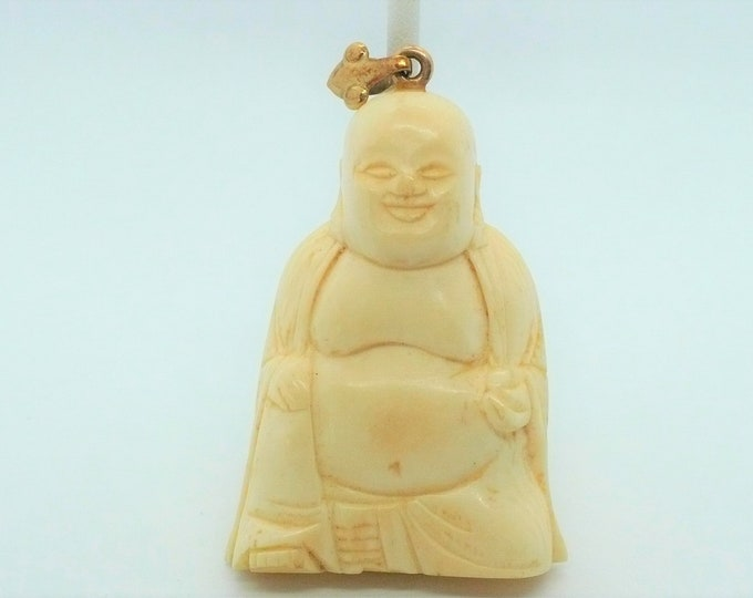 Antique Carved Buddha Mammoth Fossil Pendant