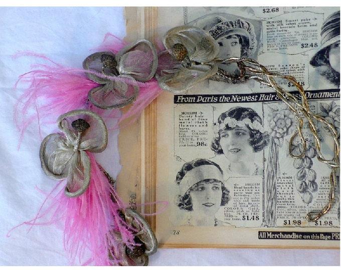 1920's Antique Flapper Genuine Silver Headband Headpiece Downton Abbey