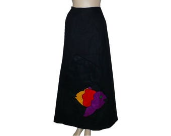 Maxi Skirt w/ Surprise / Vintage 1970's Wrap Around Skirt / Felted Wool / XXSmall / Get Lucky Vintage