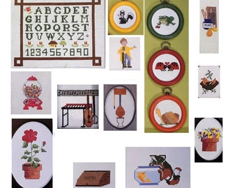 Cross Stitch Skunk Sampler Graph Patterns DIY Book Vintage Craft Supply School House Of Counted Cross Stitch Instructional Manual