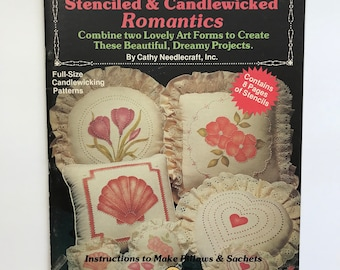 Candlewick & Stencil Patterns Fabric Painting DIY Pillows Sachets Book Vintage Craft Supply Candlewicking