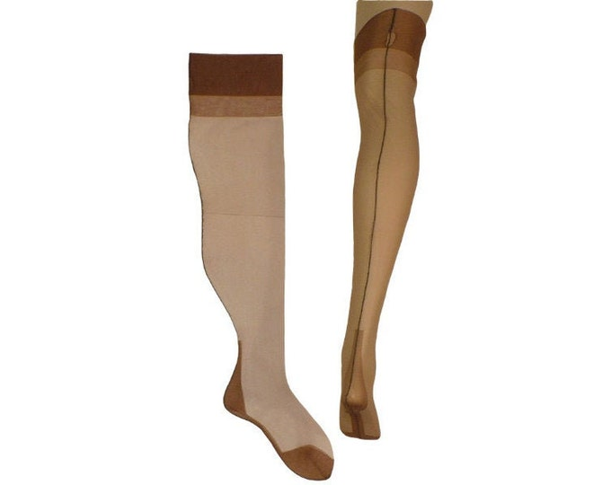 1940's Vintage Curvy Seamed Stockings Cuban Heel Thigh High Fully Fashioned FF  9 1/2 to 10 x 25