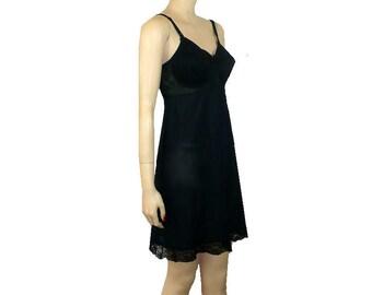 Bra Slip / Vintage 1960's Slip / Black / Full Slip / 36C / Get Lucky Vintage