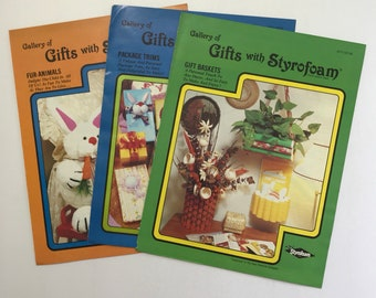 Styrofoam Gifts Craft Booklets / Lot of 3  / Vintage Craft Supply / Get Lucky Vintage