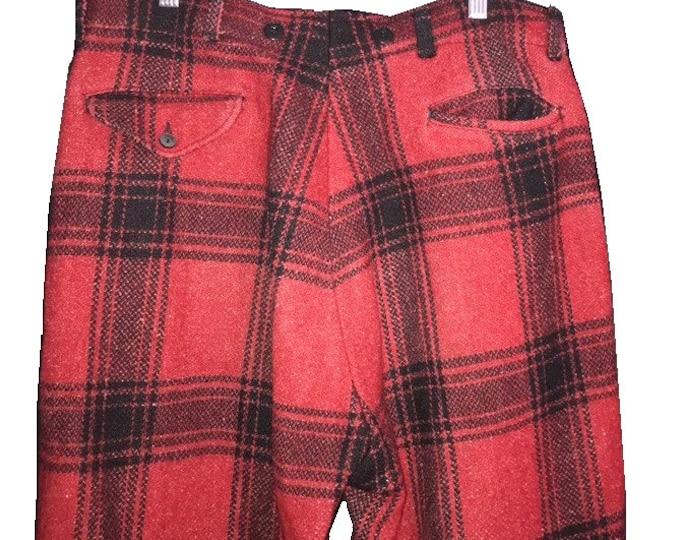 1940's Vintage Mackinaw Plaid Mens Wool Hunting Pants Men's Pants 34 waist