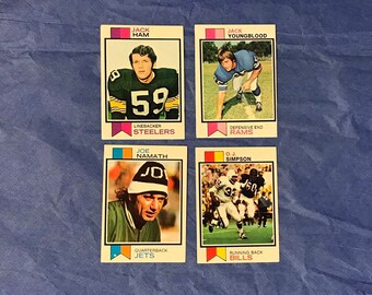 1973 Topps Joe Namath Jack Ham Jack Youngblood O.J. Simpson Football Card Trading Card Vintage Sports