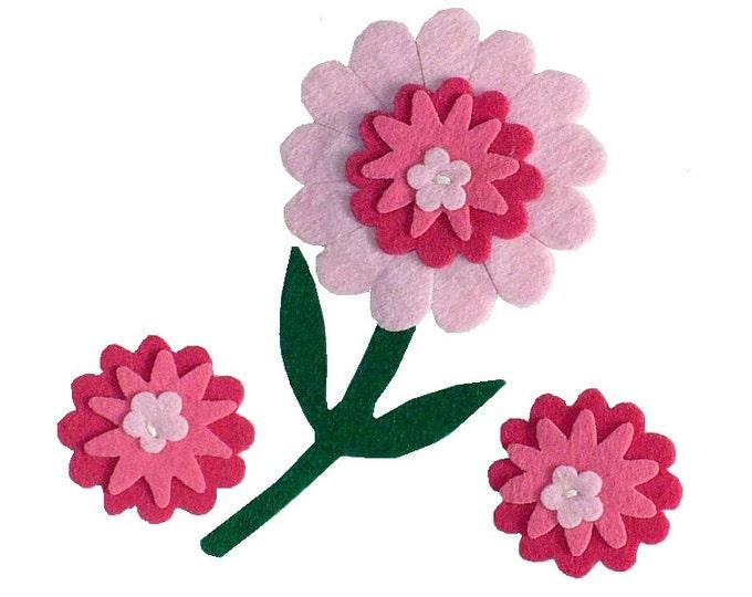 1970's Vintage Pink Felt Flowers Applique Set