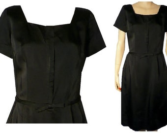 M Tailored Treat Vintage 1950's Black Silk Classy All Occasion Sheath Cocktail Party Date Dress Medium