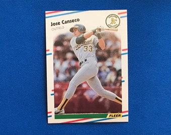 1988 Fleer #276 Jose Canseco Athletics Baseball Trading Card Vintage Sports Memorabilia Collectibles