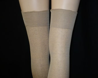 38903f2c9 10 x 27 Please-You Plus Size Vintage Thigh High Stockings Mistglo Cotton  Hosiery Oversized Unworn 260 Needle Durene RHT