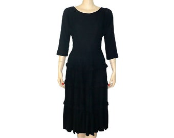 Ruffled Dress / Vintage 1950's Dress / Black / Medium 8 / Get Lucky Vintage