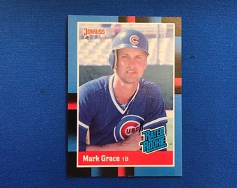 1988 Donruss / #40 / Mark Grace / Chicago Cubs  Rookie Card / RC / Vintage Baseball Card / Get Lucky Vintage