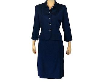 Petite Professional Vintage 1950's Navy Blue Skirt Suit / Medium / Get Lucky Vintage