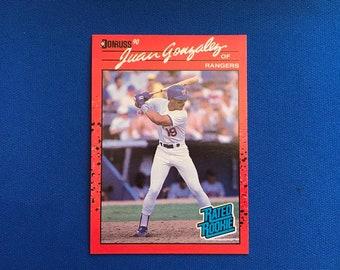 1990 Donruss #33 Juan Gonzalez Rookie Card RC Rangers Baseball Trading Card Vintage Sports Memorabilia Collectibles