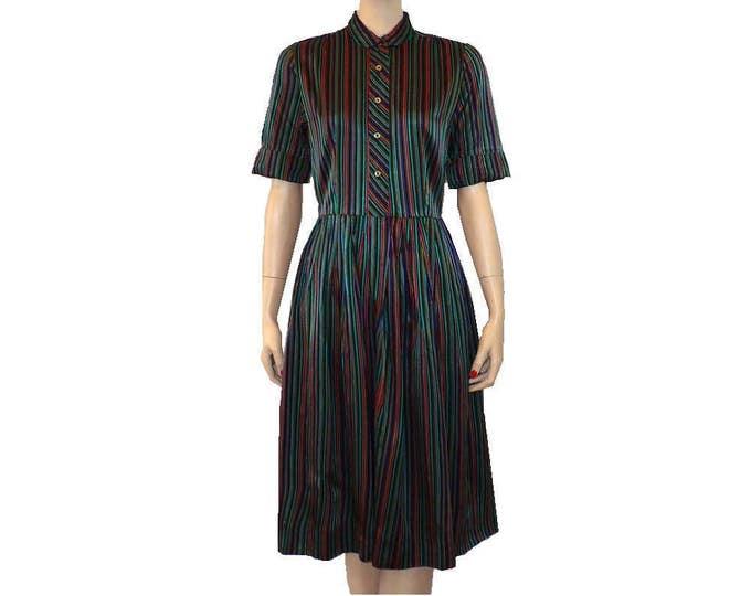 1950's Vintage Striped Shirtwaist Day Dress