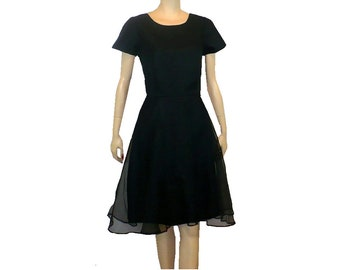 Date Dress / Vintage 1960's Dress / Black Chiffon / Small Tall/ Get Lucky Vintage
