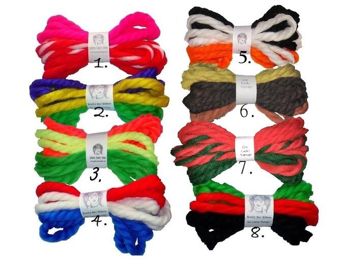 1970's Vintage Yarn Hair Ribbons Ties Fourth of July 4th Holiday Bundles Hair Ties