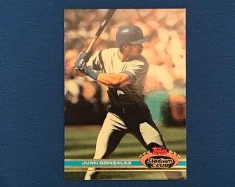 1991 Topps Stadium Club #237 Juan Gonzalez Texas Rangers Baseball Card Trading Card