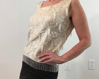 Shimmy Top / Beaded Beauty / Vintage Top / White Blouse / 1960's / Medium / Get Lucky Vintage