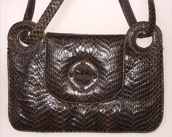 Arm Candy Genuine Snakeskin Purse Handbag Versatile Vintage Top Handle Shoulder Purse