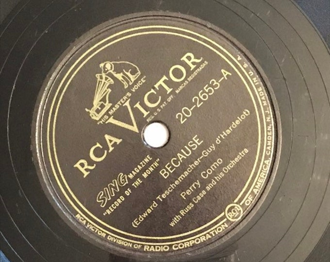1940's Vintage 78 Record Because, If You Had All The World; It's Gold by Perry Como RCA Victor 20-2653