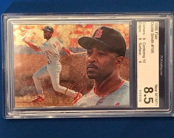 1995 Flair #195 HOF Ozzie Smith St Louis Cardinals Baseball Trading Card PCA 8.5
