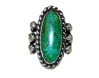Green Goddess Vintage Turquoise Ring Vintage 1960's Silver Ring Size 4 1/2