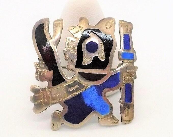 Ancient Peruvian Shaman Mid Century Pin Brooch Pendant
